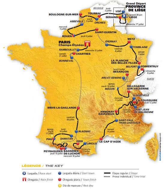 Mapa Tour de France 2012
