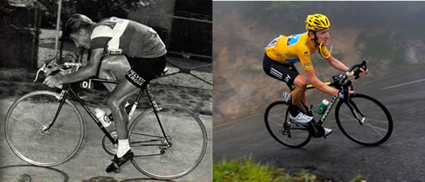 Bicicletas do Tour de France em 1962 e em 2012